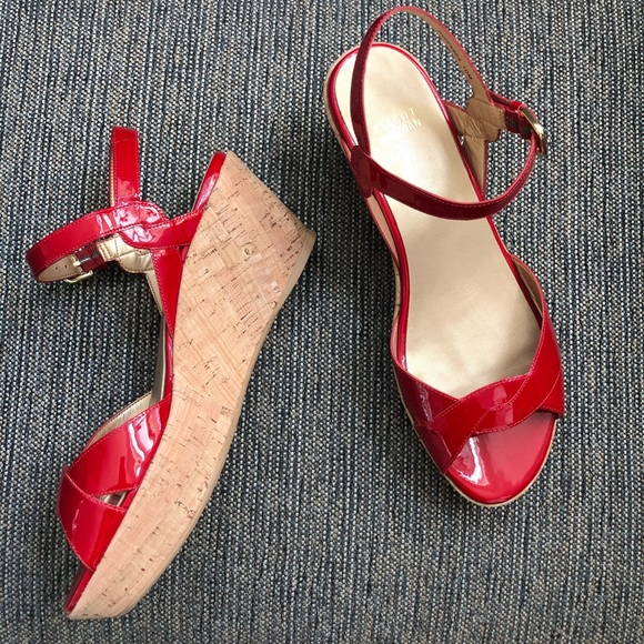 STUART WEITZMAN Red Patent Leather Cork Wedges NEW